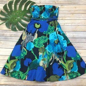 Vanessa Virginia blue floral strapless dress